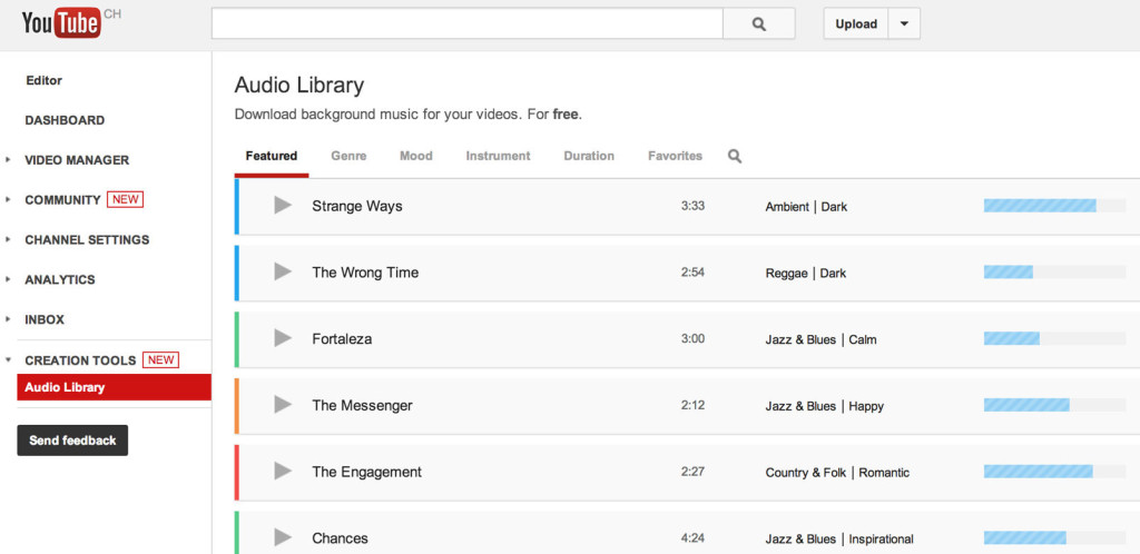 Free YouTube Adds Background Music Library for Your Videos